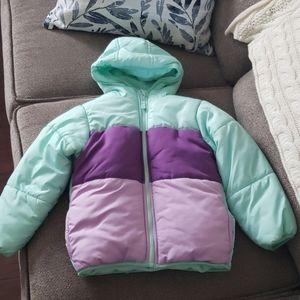 4/$16! Wonderkids mint & purple puffer coat